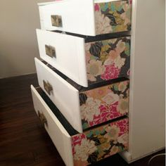 I have some really nice wrapping paper that would work well for this》 chelsey life & designs: DIY WALLPAPER DRESSER