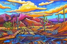 Monsoon Reflection by Alexandria Winslow Landscape Art, Landscape Paintings, Landscapes, Southwestern Art, Southwest Decor, Cactus Art, Rock Cactus, Desert Art, Naive Art