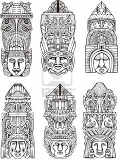 Abstract mesoamerican aztec totem poles. Set of black and white vector illustrations. Stock Photo