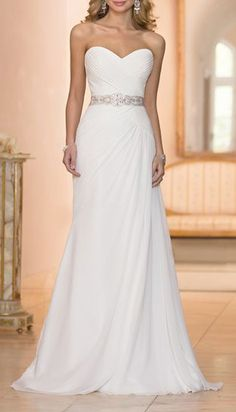 Chiffon sheath bridal gown