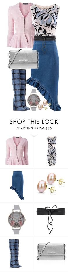 """""""Ruffled Hem Denim Skirt"""" by polyvore4leah ❤ liked on Polyvore featuring Alexander McQueen, Emilio Pucci, DaVonna, Topshop, NLY Accessories, Tom Ford and MICHAEL Michael Kors"""