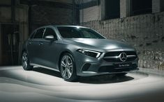 Download wallpapers Mercedes-Benz A-Class, 2018, front view, 4k, new hatchback, gray A-Class, German cars, Mercedes