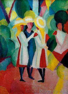 August Macke - Drei Mädchen mit gelben Strohhüten I