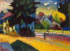 Wassily Kandinsky, Murnau – Landschaft mit grünem Haus, oil on board, 1909 (est. Expressionist masterpiece by Kandinsky to appear at Auction for first time Modern Art, Artist Inspiration, Artist, Painting, Wassily Kandinsky, Kandinsky Art, Expressionist, Impressionist, Abstract