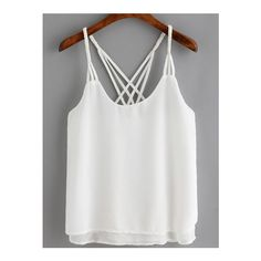 SheIn(sheinside) White Spaghetti Strap Loose Cami Top ($13) ❤ liked on Polyvore featuring tops, t o p s, white, white camisole, chiffon tank top, chiffon tank, white singlet and cami tank tops