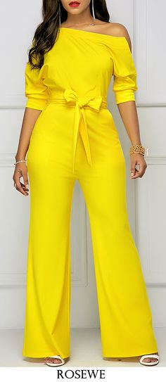 Women's Half Sleeve Skew Neck Belted Yellow Jumpsuit in Clothing, Shoes & Accessories, Women's Clothing, Jumpsuits & Rompers Classy Outfits, Chic Outfits, Yellow Jumpsuit, White Romper, Jumpsuit With Sleeves, Lace Jumpsuit, Tailored Jumpsuit, Printed Jumpsuit, Overall