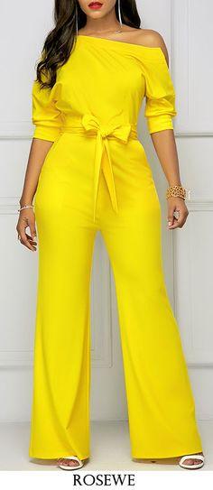 Belted Half Sleeve Skew Neck Yellow Jumpsuit