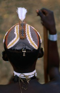 Africa | Hamer man with a decorated clay/mud headdress.  Omo Valley, Ethiopia | ©Frances Linzee Gordon