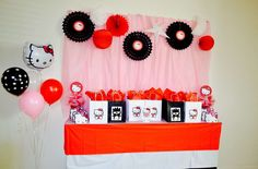 Red, pink and black Hello Kitty birthday party! See more party ideas at CatchMyParty.com!