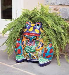 The fern is perfect for this talavera frog. Mexican Patio, Mexican Garden, Mexican Art, Mexican Style, Frog Crafts, Talavera Pottery, Frog Art, Southwest Decor, Mexican Designs