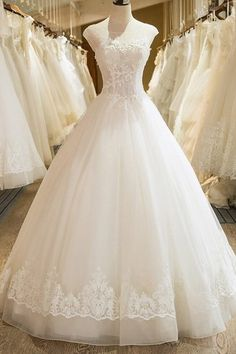 Princess Scoop Floor Length Organza Wedding Dress