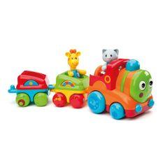 Voici le train musical Smileland. Quand il roule, ses yeux bougent et les disques de ses roues tournent. En appuyant sur sa cheminée, 4 sons ou des mélodies retentissent. La girafe et le chat sont articulés et leurs oreilles ont une texture différente incitant l'enfant à les manipuler. Pour faire avancer son petit train, l'enfant se déplace et développe ainsi sa motricité. Il y a tant d'histoires à imaginer pour ces petits personnages de l'univers Smileland.