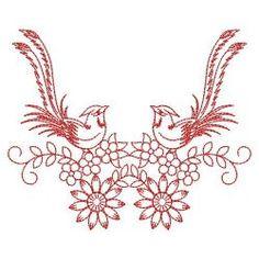 Redwork Fancy Birds 01(Md) machine embroidery designs