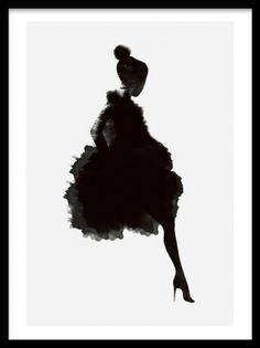 Plakat med kvinde i mørk silhuet på lys grå baggrund