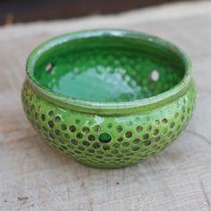 Hand Made Pottery Yarn Bowl Knitting Bowl Raku