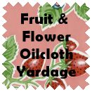 FRUIT AND FLOWER OILCLOTH lime tropical $6 per yard. Might be perfect for the top of the tiki bar