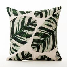 Decorative Pillow green leaves printed cushion cover/pillow case/pillow cover/decorative throw pillows cushion shell by Homesunshine on Etsy https://www.etsy.com/au/listing/498038610/decorative-pillow-green-leaves-printed