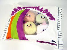 A Bag of Marshmallows in Plush..multi-coloured marshmallows. $40.00, via Etsy.