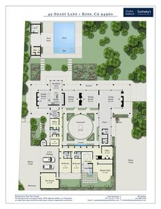 5 Bed / Bath / Pool / 1 Acre / 42 Shady Ln Ross CA presented by Bill Bullock and Lydia Sarkissian House Plans Mansion, Cottage House Plans, Bedroom House Plans, Cottage Homes, House Floor Plans, House Layout Plans, House Layouts, Courtyard House Plans, California Real Estate