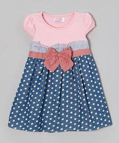 Blue & Pink Polka Dot A-Line Dress - Toddler & Girls #zulily #zulilyfinds