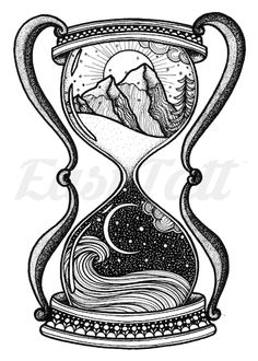 Only EasyTatt Hourglass Tattoos Look Real. Choose from Thousands of Temporary Tattoo Designs or Upload your Own Design. Cool Art Drawings, Art Drawings Sketches, Tattoo Sketches, Tattoo Drawings, Tatoo Neck, Arm Tattoo, Sleeve Tattoos, Hourglass Drawing, Hourglass Tattoo