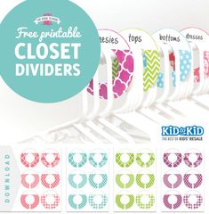 + FREE printable closet dividers  and how to de-clutter your child's room. KonMari method.