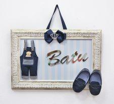 Miss Ahşap Çerçeveli Erkek Kot Tulum Ayakkabı ve Aynalı Kesim İsimli Kapı Süsü