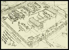 Dibujo del campo de prisioneros de Beketowka. En el estuvieron los prisioneros alemanes que trabajaron en la reconstrucción de Stalingrado,  de los que pocos sobrevivieron. Según un intérprete alemán que trabajaba con los rusos de 50000 prisioneros, enfermos y heridos incluidos, el 1 de octubre de 1943 habían perecido 42,500 . Hoy hay una urbanización, en el lugar, con una autoescuela **