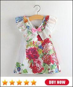 Varejo venda quente 2015 nova chegada meninas vestir roupas de verão crianças menina crianças condoer bowknot cinto 1038 # em Vestidos de Mãe & Kids no AliExpress.com | Alibaba Group