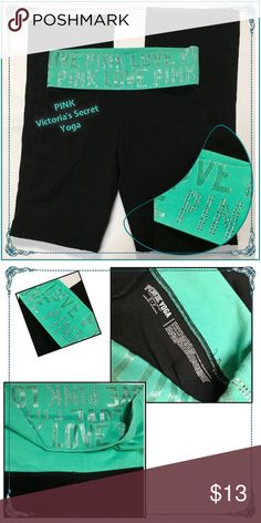 """🆕PINK Victoria's Secret Yoga pants PINK Victoria's Secret black low rise  yoga pants with 3"""" fold over teal waistband with silver PINK signature. Sz SP Waist/13"""" lying flat Inseam/31"""" Rise/7"""". In EUC like new! PINK Victoria's Secret Pants Track Pants & Joggers"""
