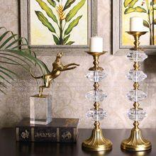 Europeu Americano retro luxo cristal castiçal castiçais de cobre ornamentos entrada sala de estar Restaurante(China (Mainland))