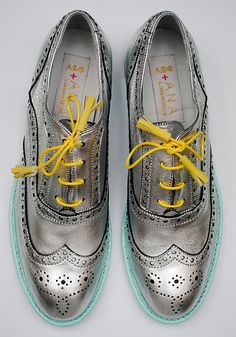 Pewter oxfords with yellow laces and aqua soles.