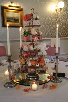 English Garden Roses and Peonies on a 4 tier cake stand
