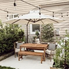 Shop for Acapulco Offset Cantilever Patio Umbrella with Cross Base by Havenside Home. Get free delivery On EVERYTHING* Overstock - Your Online Garden & Patio Shop! Outdoor Patio Designs, Small Backyard Landscaping, Outdoor Decor, Backyard Ideas, Backyard Projects, Landscaping Ideas, Garden Ideas, Backyard Pools, Small Patio Design