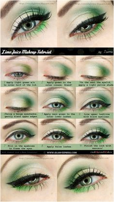 Lime-Shaded & Neon Green Makeup Tutorial for Refreshing Eyes - Lace - . - Lime-Shaded & Neon Green Makeup Tutorial for Refreshing Eyes – Lace – Lime-Shaded & Neon Green - Easy Makeup Tutorial, Makeup Tutorial For Beginners, Eye Tutorial, Eyeshadow Makeup Tutorial, Costume Makeup Tutorial, Eyeliner Tutorial, Colorful Eye Makeup, Makeup For Green Eyes, Green Eyeshadow