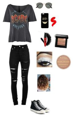 """Untitled #36"" by scarlettmarie338 on Polyvore featuring Topshop, Yves Saint Laurent, Converse, Ray-Ban, Bobbi Brown Cosmetics and Rimmel"
