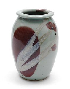 Glazed stoneware vase with Japanese decoration design execution by Leo Martens in own studio the Netherlands ca.1980