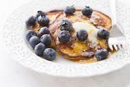 Fat-Burning Banana Pancakes - Yuri Elkaim  Makes 4-6 pancakes  1 banana,1 egg, 2 tbs hemp seeds, 1 tbsp chia seeds, 1 cup blueberries =, ½ lemon, 2 tbsp pure maple syrup  Pureé banana, egg, coconut oil, hemp & chia seeds. Cook over medium heat until golden brown on each side.  Heat blueberries, lemon, maple syrup until blueberries pop. Serve over pancakes.  Nutritional Serving/Pancake approx. ·       Calories: 114 ·       Total Carb: 12g ·       Sugars: 8g ·       Protein: 3g ·       Fiber…