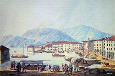 Como, il porto, prima metà '800, visto da ovest.