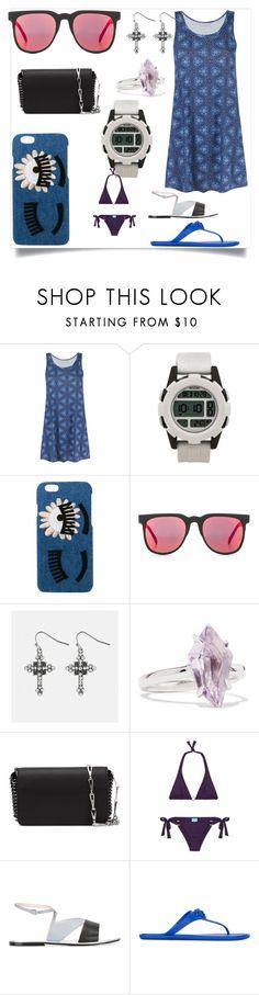 """sea the fashion"" by denisee-denisee ❤ liked on Polyvore featuring Lygia & Nanny, Nixon, Chiara Ferragni, Komono, Avenue, Alexis Bittar, Paco Rabanne, Melissa Odabash, Pollini and Versace"