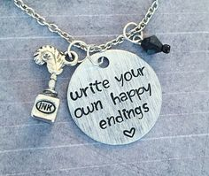 Write Your Own Happy Endings Necklace - Fairytale Jewelry - Once Upon A Time Jewelry - OUAT Jewelry - Fandom Jewelry - The Author