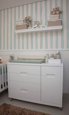 Baby room with wallpaper: learn how to choose and see 65 ideas - Decoration, Architecture, Construction, Furniture and decoration, Home Deco Baby Bedroom, Baby Boy Rooms, Baby Room Decor, Baby Boy Nurseries, Nursery Room, Kids Bedroom, Kids Decor, Home Decor, Girl Room