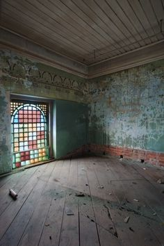 Colorful Stained Glass Window Inside of an Abandoned Warehouse~