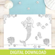 Mermaid Place Mats - Personalised Colouring In Placemats - The Little Mermaid - Disney Ariel - Childrens Mermaid Party - Wedding Activity - Etsy - LetsDreambyChiChiMoi Diy Wedding Favors, Party Wedding, Party Favours, Wedding Ideas, Tie The Knot Wedding, Mermaid Disney, Ariel Mermaid, Wedding Activities, Mermaid Coloring