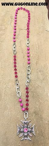 Silver Chopper Cross with AB Crystals on Pink and Silver Chain Necklace
