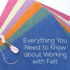 I LOVE working with felt! The edges don't fray, it's delightfully warm, it takes embroidery beautifully, and it comes in the most luscious colors. But it's different than regular fabric. These tips will make it super easy to work with. Why wool felt? Embroidery Designs, Felt Applique, Crewel Embroidery, Embroidery Kits, Embroidery Books, Embroidery Alphabet, Ribbon Embroidery, Embroidery Tattoo, Embroidery Materials