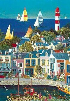 this is life Seaside Art, Beach Art, Illustrations, Illustration Art, Country Art, Naive Art, Tole Painting, Whimsical Art, Painting Art