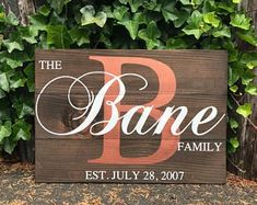 Monogrammed wedding gift for the bride and groom. Give the gift that will last a lifetime with this custom handcrafted rustic wood sign.  Last Name Sign Family Initial Home Sign Family Name Sign #woodsign #wedding #bride #groom #gift Family Initial Sign - Last Name Sign - Family Name Sign - Family Established Sign - Wooden Family Sign - Living Room Decor - Wedding Gifts