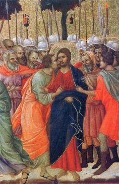 Arrest of Christ (Fragment), Duccio di Buoninsegna Medium: wood,tempera Christian Drawings, Christian Symbols, Christian Art, Religious Paintings, Religious Art, Italian Renaissance, Renaissance Art, Medieval Art, Siena