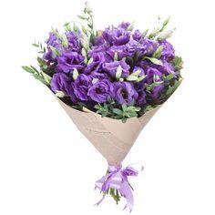Упаковка стандартная (1), Лента натуральная (2), Эвкалипт Парвифолия (1), Эустома фиолетовая (9)